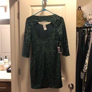 Express Dresses - NWT Express Hunter Green Sequin Mini Dress